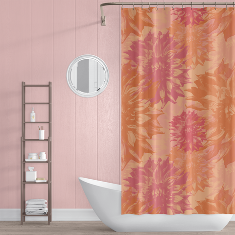 Peach and Pink Dahlia Floral Shower Curtain - Metro Shower Curtains
