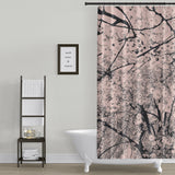 Cherry Blossom Graphic Print / Pink and Black Shower Curtain