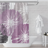 Pink and Gray Zinnia Giant Flowers Shower Curtain Modern Art Print on White