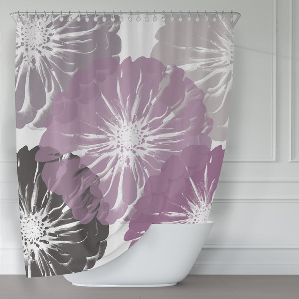 Pink, Gray and White Zinnia Large-Scale Flower Art Print Shower Curtain - Metro Shower Curtains