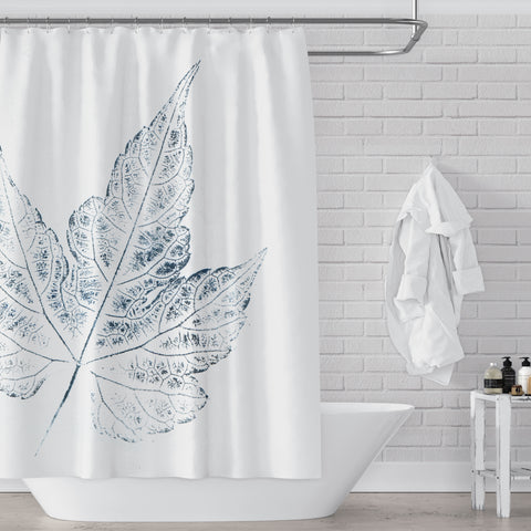 Indigo Blue Large Scale Ivy Vine Delicate Leaf Ink Art Print on White Shower Curtain - Metro Shower Curtains