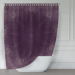 Purple Mandala Print Shower Curtain for Rustic Bathroom, Rich Dark Shade, Meditation Pattern - Metro Shower Curtains