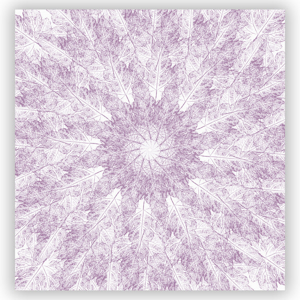 Light Purple on White Leaf Prints in A Contemporary Starburst Mandala Shower Curtain - Metro Shower Curtains