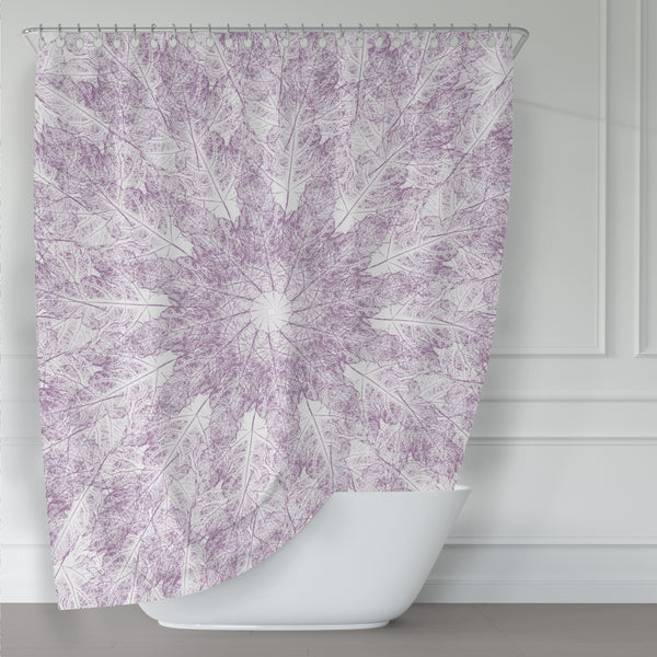 Purple Leaves Starburst Mandala on White Shower Curtain