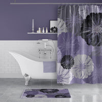 Purple and Gray Floral Print Shower Curtain
