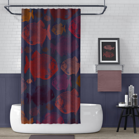 Red Piranha Shower Curtain / Reds & Navy Blue - Metro Shower Curtains