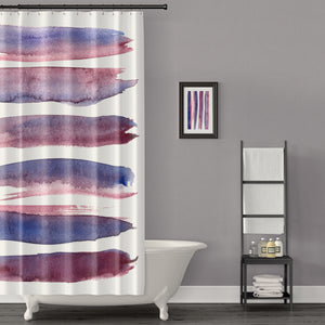 Maroon and Blue Minimalist Brush Stroke Shower Curtain - Metro Shower Curtains
