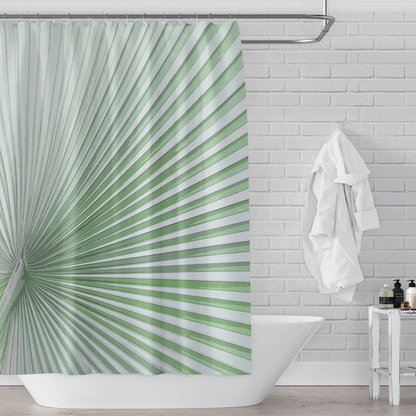 Light Green Palmetto / Large Scale Tropical Palm Leaf Shower Curtain for Modern Bath Decor - Metro Shower Curtains