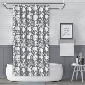 Skulls of the Parisian Catacombs Gray and White Shower Curtain - Metro Shower Curtains