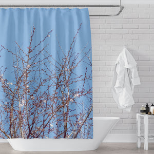 Spring Blossoming Tree Branches with Clear Blue Sky Photographic Block Print Shower Curtain - Metro Shower Curtains