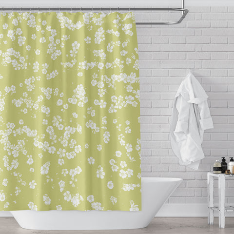 Retro Spring Green Wildflower Meadow Shower Curtain - Metro Shower Curtains