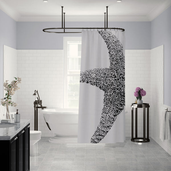 Starfish Coastal Black and White Bathroom