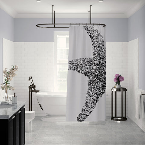Black and White Art Print Starfish Shower Curtain - Metro Shower Curtains