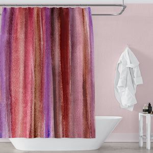 Burgundy Watercolor Stripes Abstract Art Shower Curtain - Metro Shower Curtains