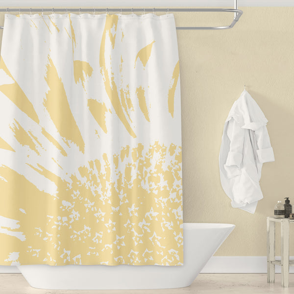 Sunflower Shower Curtain - Pale Yellow & White / Monochrome Large Scale Abstract Bathroom Art Print