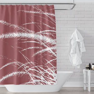 Brick Red & White Pampas Grass Print Shower Curtain - Metro Shower Curtains
