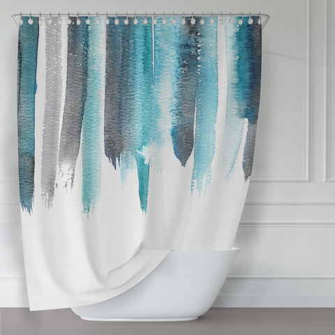Turquoise and Gray Watercolor Rain Shower Curtain / Contemporary Design / Premium Fabric - Metro Shower Curtains