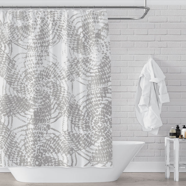 Warm Gray and White Rustic Spiral Pattern Farmhouse Shower Curtain - Metro Shower Curtains