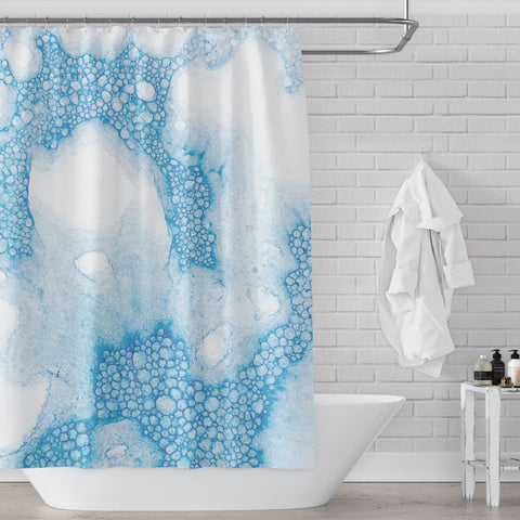 Turquoise Blue Soap Bubbles Watercolor Art Shower Curtain - Metro Shower Curtains