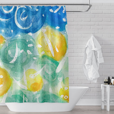 Field of Sunshine Bright and Colorful Watercolor Art Shower Curtain - Metro Shower Curtains