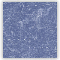 White Mountain National Forest Vintage Blueprint Style Map Shower Curtain
