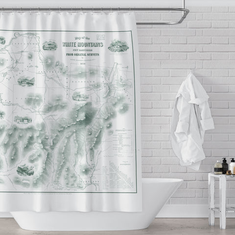 New Hampshire's White Mountains Vintage Map Shower Curtain, Green on White - Metro Shower Curtains