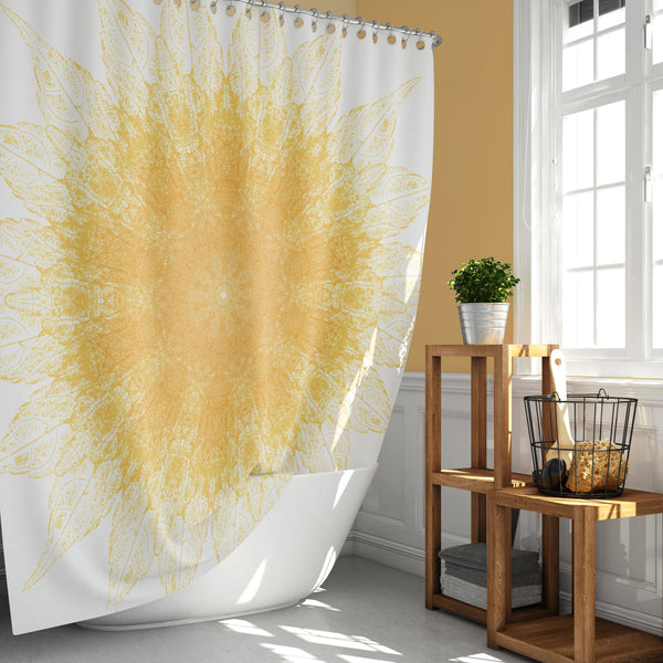 Yellow Leaves Mandala Print, Sunny Starburst Pattern Shower Curtain
