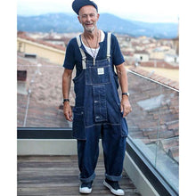 Load image into Gallery viewer, Men Denim Loose One-piece Bib Overalls Coveralls Workwear Jumpsuits Jeans Pants