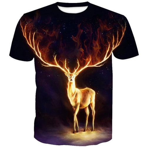 3D Flame Elk Print Galaxy T-Shirt