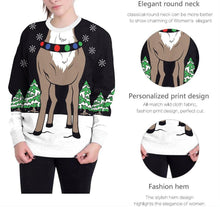 Load image into Gallery viewer, Reindeer Digital Print Round Neck T-shirt Tops