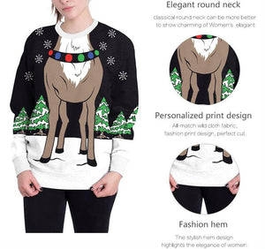 Reindeer Digital Print Round Neck T-shirt Tops