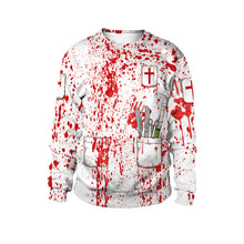 Load image into Gallery viewer, Halloween Blood Printed Collar Long Sleeve Sweatshirt
