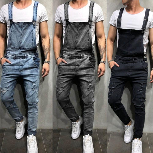 Men Denim Bib Overalls Fashion Ripped Jeans Slim Jumpsuit with Pockets