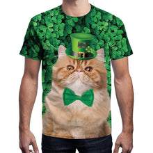 Load image into Gallery viewer, 3D St. Patrick's Day Fake Bow Belt Shamrock Print Shirt Pullover T-shirt