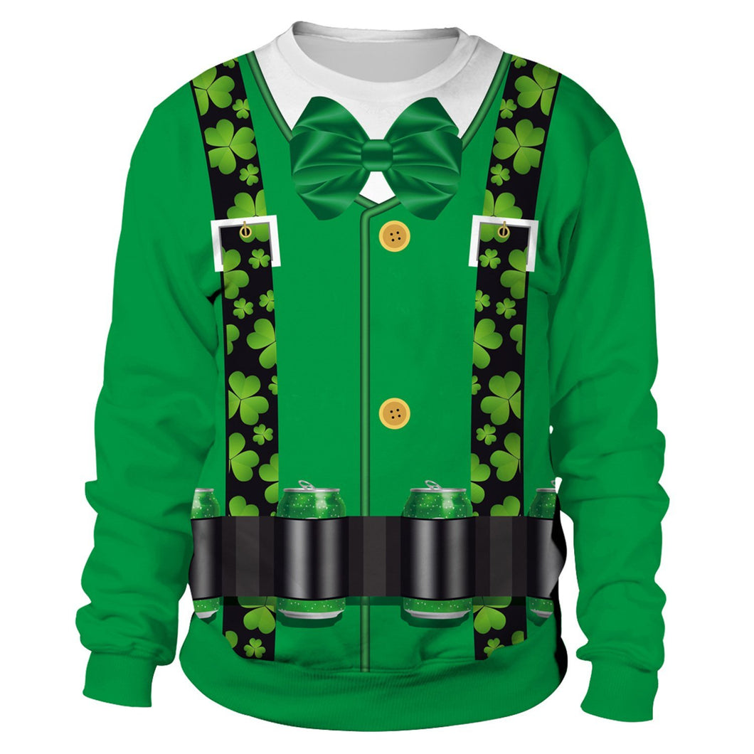 Saint Patrick's Day Strap Shamrocks Print Sweatshirt