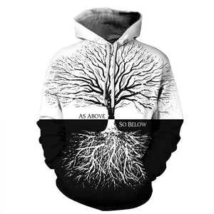 Tree Print  Long Sleeve Women's Pullover Hoodie