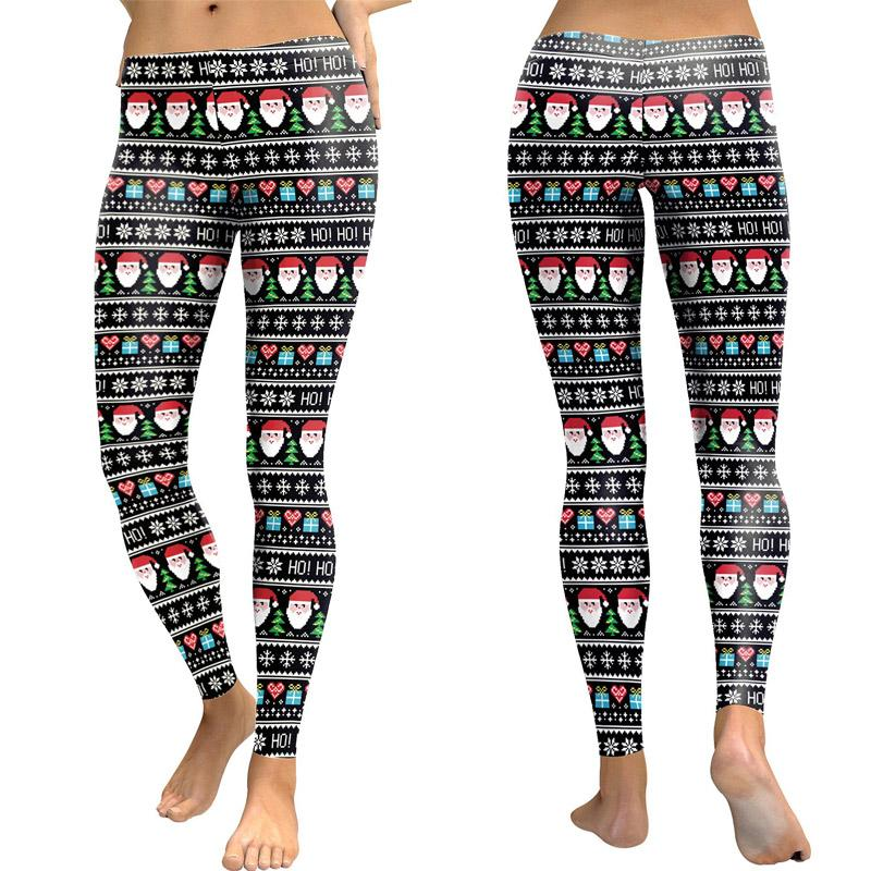 Santa Claus Print Slim Sexy Leggings Yoga Sport Pants