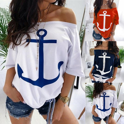 Anchor Printed Women Casual Off Shoulder Bat Sleeve T-Shirt Blouse Top