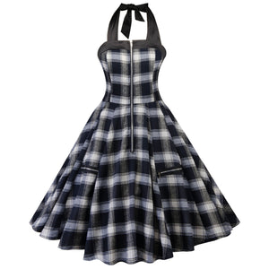 1950s Vintage Rockabilly Plaid Print Audrey Dress Vintage Cocktail Dress