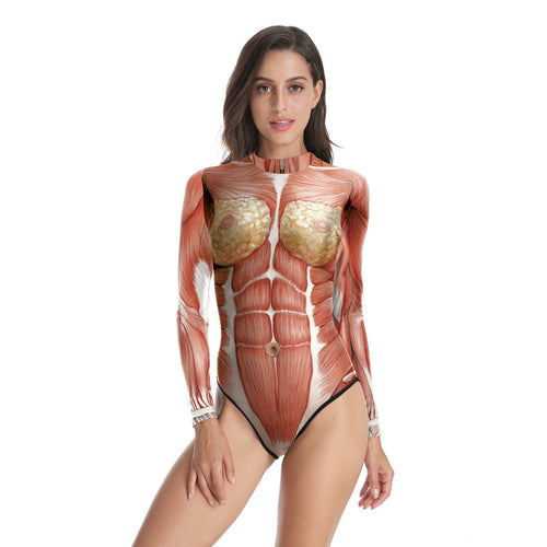 Halloween Realistic Human Body Tissue Print Women's One-piece Swimwear