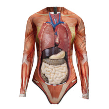 Load image into Gallery viewer, 3D Organs Bodysuit Women Novelty Funny Cosplay Costumes Long Sleeve One piece Body Suits Swimsuit
