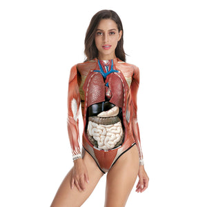 3D Organs Bodysuit Women Novelty Funny Cosplay Costumes Long Sleeve One piece Body Suits Swimsuit