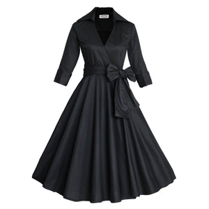 Women Vintage 1950s V-neck Retro Rockabilly Prom Dresses