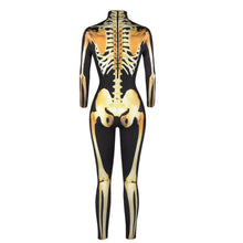 Load image into Gallery viewer, 3D Funny Skeleton Print Tight Stretch Women Long Sleeve Jumpsuit Pants Pajamas Onesies