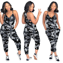 Load image into Gallery viewer, Women Spaghetti Strap Camo Jumpsuit