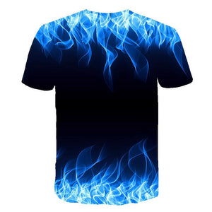 3D Blue Flame Print Men Short Sleeve T-shirt Tee Tops