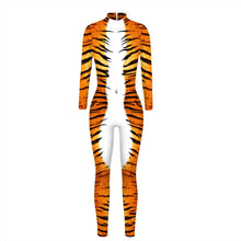 Load image into Gallery viewer, 3D Funny Tiger Pattern Print Tight Stretch Women Long Sleeve Jumpsuit Pants Pajamas Onesies