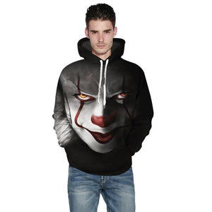 3D Clown Printing Hoodie Casual Hooded Sweatshirt
