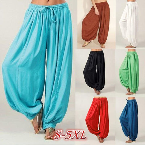 Plus Size Irregular Harlan Pants Solid Color Casual Pants