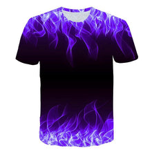 Load image into Gallery viewer, 3D Blue Flame Print Men Short Sleeve T-shirt Tee Tops